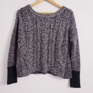 American Eagle Black and White Cable-knit Sweater